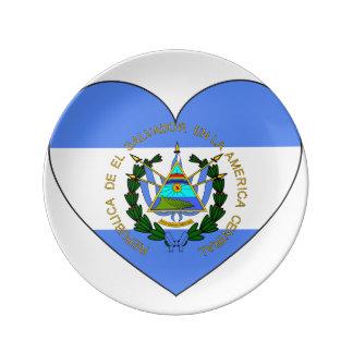 Prato De Porcelana Coração da bandeira de El Salvador