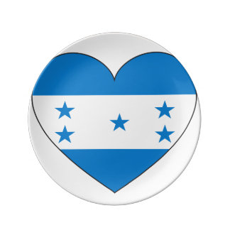 Prato De Porcelana Coração da bandeira de Honduras