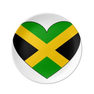 Prato De Porcelana Coração da bandeira de Jamaica