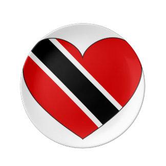 Prato De Porcelana Coração da bandeira de Trinidad and Tobago