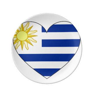 Prato De Porcelana Coração da bandeira de Uruguai