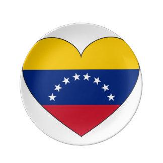 Prato De Porcelana Coração da bandeira de Venezuela