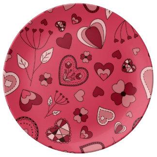 Prato De Porcelana Corações cor-de-rosa e placa decorativa da