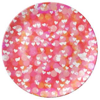 Prato De Porcelana Corações da bolha