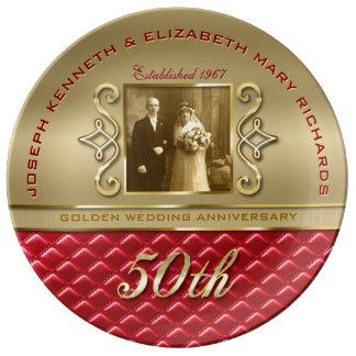 Prato De Porcelana Couro vermelho acolchoado do aniversário 50th ouro