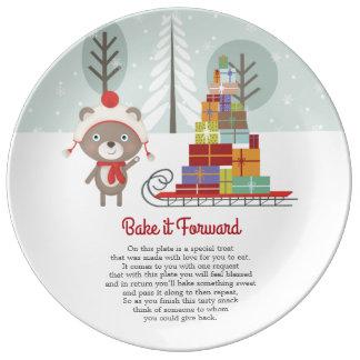 Prato De Porcelana Coza-o Natal do urso de ForwardWoodland