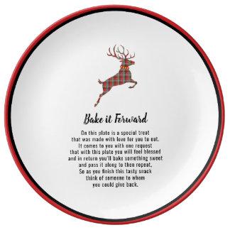 Prato De Porcelana Coza-o para a frente elogio do feriado da rena da
