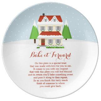 Prato De Porcelana Coza-o para a frente Feliz Natal