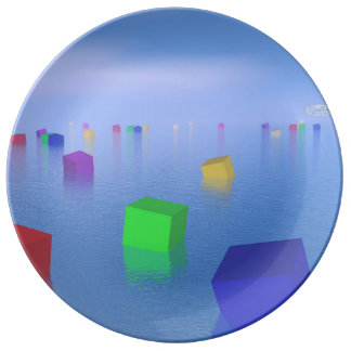 Prato De Porcelana Cubos coloridos que flutuam - 3D rendem