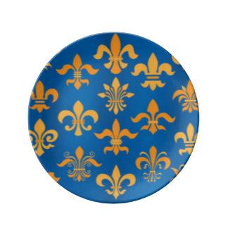 Prato De Porcelana Design azul do impressão do teste padrão da flor
