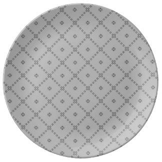 Prato De Porcelana Design cinzento gráfico