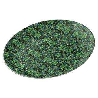 Prato De Porcelana Design floral do teste padrão do abstrato da