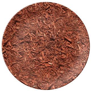 Prato De Porcelana detalhe a imagem do mulch do cedro vermelho para o