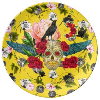 Prato De Porcelana Dia do morto mim Diâmetro De Los Muertos Placa