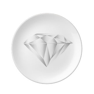 Prato De Porcelana Diamante branco para meu querido