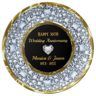 Prato De Porcelana Diamantes cinzentos & aniversário de prata do