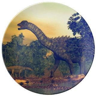 Prato De Porcelana Dinossauros do Ampelosaurus