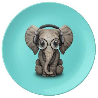 Prato De Porcelana Elefante bonito DJ do bebê que veste fones de