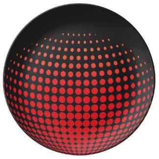 Prato De Porcelana esferas 3D com pontos