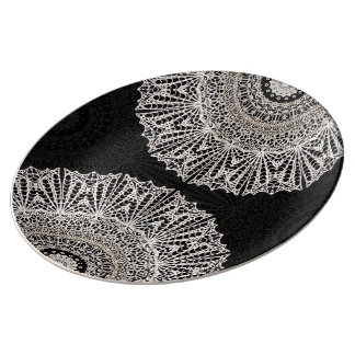 Prato De Porcelana Estilo G384 de Mehndi da mandala da placa da