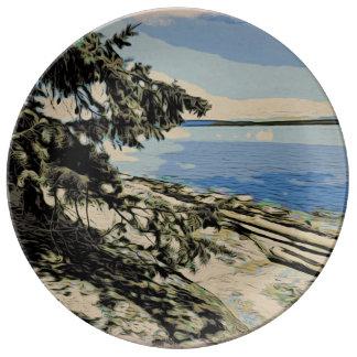 Prato De Porcelana Estilo pacífico do woodblock da praia