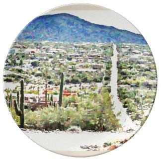 Prato De Porcelana Estrada à placa da porcelana da pintura a óleo de
