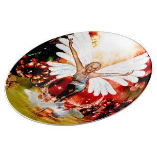 Prato De Porcelana Fada maravilhosa com cisne