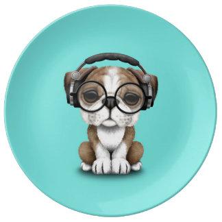 Prato De Porcelana Filhote de cachorro bonito DJ do buldogue que