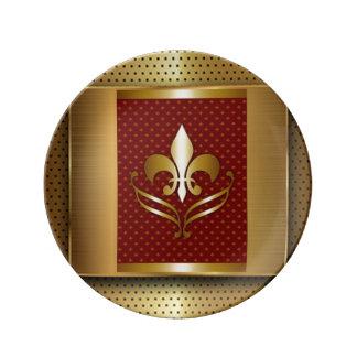 Prato De Porcelana Flor de lis do ouro