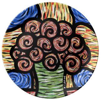 Prato De Porcelana Flores abstratas modernas coloridas