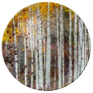 Prato De Porcelana Floresta enevoada do vidoeiro