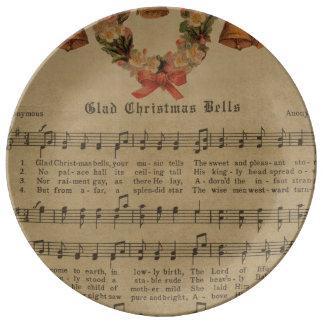 Prato De Porcelana Folha de música da canção de natal do natal
