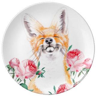 Prato De Porcelana Foxy feliz e rosas