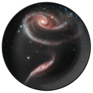 Prato De Porcelana Galáxia cor-de-rosa