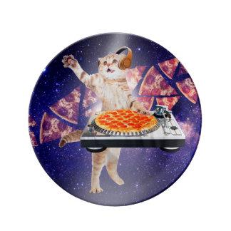 Prato De Porcelana gato do DJ - gato DJ - gato do espaço - pizza do
