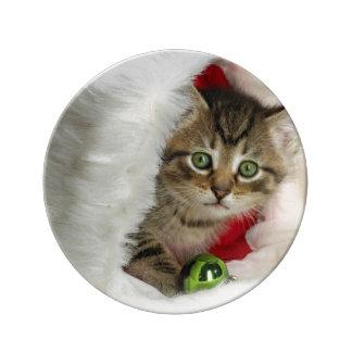 Prato De Porcelana Gato do Natal - gato do gatinho - gatos bonitos