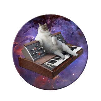 Prato De Porcelana gato do teclado - memes do gato - gato louco
