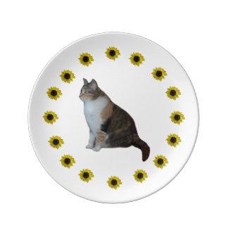 Prato De Porcelana Gato e girassóis de chita