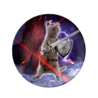 Prato De Porcelana gatos do guerreiro - gato do cavaleiro - laser do