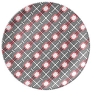 Prato De Porcelana Geométrico vermelho & branco preto