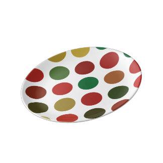Prato De Porcelana Grande teste padrão de Polkadots do vermelho e do