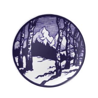 Prato De Porcelana Gravura a água-forte da cena da montanha do