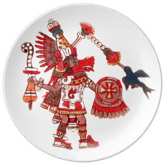 Prato De Porcelana Guerreiro asteca do shaman da dança
