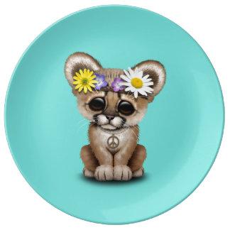 Prato De Porcelana Hippie bonito de Cub do puma