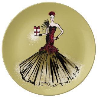 Prato De Porcelana Ilustração da forma do Natal com pacote