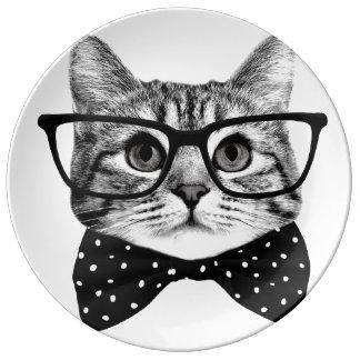 Prato De Porcelana laço do gato - gato dos vidros - gato de vidro