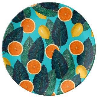 Prato De Porcelana limões e cerceta das laranjas