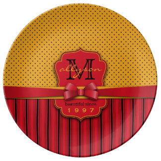 Prato De Porcelana Listras amarelas retros do vermelho das bolinhas