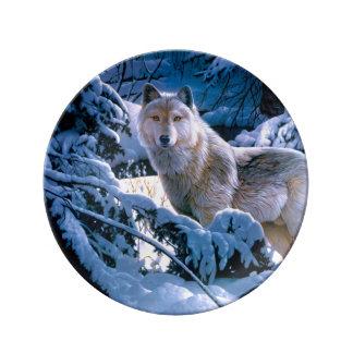 Prato De Porcelana Lobo ártico - lobo branco - arte do lobo