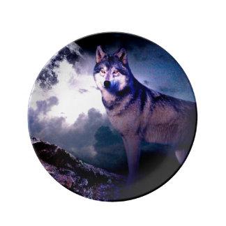 Prato De Porcelana Lobo da lua - lobo cinzento - lobo selvagem - lobo